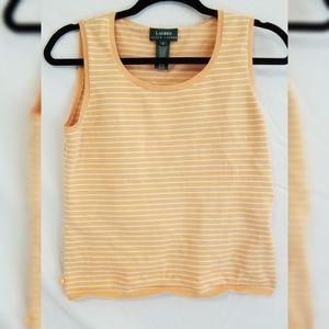 Lauren Ralph Lauren Orange Striped Tank Top S